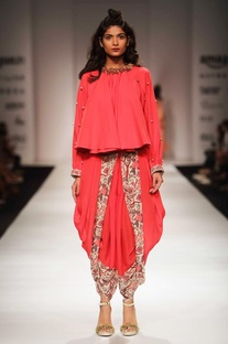 Red khadi top with floral print dhoti pants