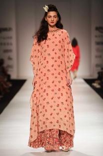 Peach floral print kaftan tunic & skirt