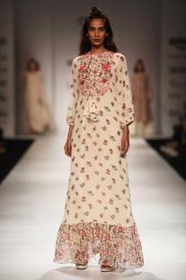 Ivory floral print embellished maxi dress