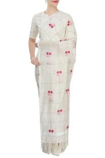 Off-white embroidered sari