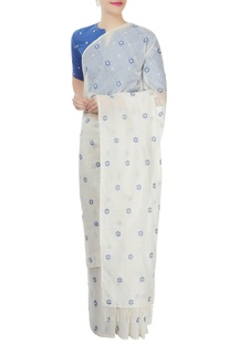 Off-white & blue embroidered sari