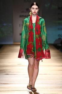 Forest green printed shirt dress