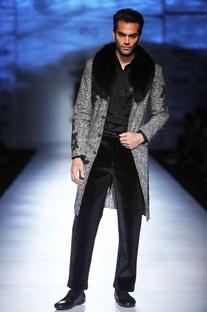 Grey jacket with applique & fur collar