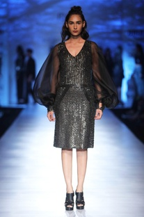 Black sequin dress with balloon sleeves