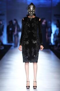 Black velvet patchwork dress