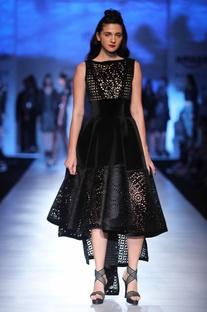 Black velvet asymmetric dress