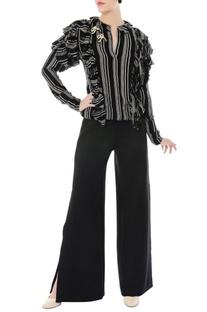 Black & white ruffle top & bell bottom pants