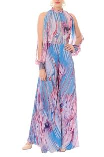 Lavender & bougainvillea pink printed jumpsuit