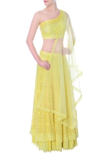 Yellow double layered one sided crop top & lehenga set