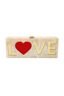 White, red  & gold 'Love' monogrammed clutch