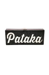 Black & silver 'Pataka' monogrammed clutch