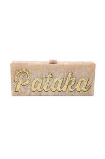 Champagne & gold 'Pataka' monogrammed clutch