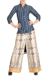 Denim blue high low kurta & printed palazzo pants