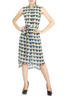 Multi-colored printed shirt dress