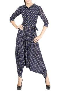 Navy blue motif print jumpsuit