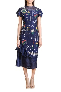 Indigo applique work midi dress