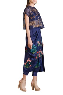 Indigo draped skirt with sheer embellished top