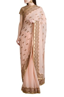Peach embroidered sari with blouse