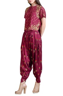 Wine embroidered top & pleated pants