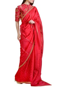 Raspberry red embellished sari with blouse