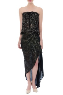 Black & gold cutwork tube top & asymmetric skirt