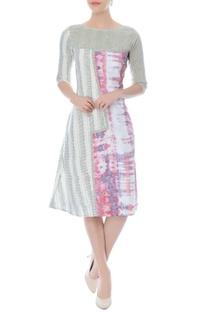 White multi-printed dress