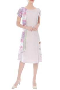 Ivory A-line dress with printed double layer on the side