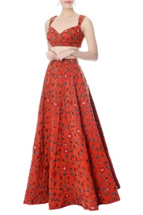 Rust floral embroidered lehenga & blouse