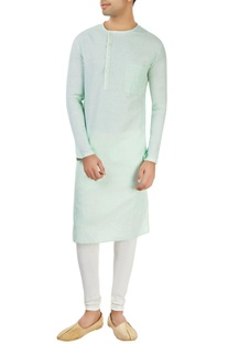 Powder blue kurta with off-center opening