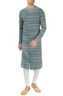 Blue striped kurta with pleats