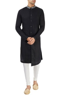 Black sherwani with embroidered collar