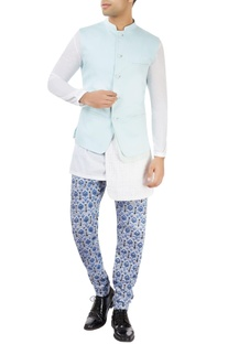 Pastel blue nehru jacket with printed layer