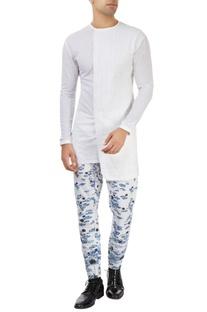 White lotus printed pants