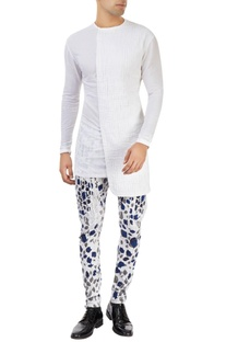 White pants with blue & grey leaf prints