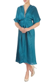 Teal blue dress with drape detail & embroidery