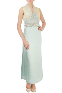 Mint green dress with embroidery & beadwork