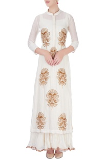 Ivory maxi dress with embroidered kurta