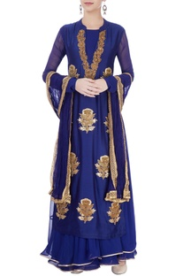 Blue maxi with embroidered kurti