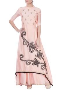 Pink embroidered kurta lehenga set