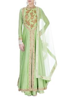 Green embroidered kurta set