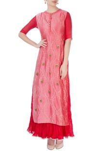 Red maxi dress with salmon pink kurta