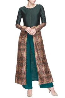 Forest green printed front slit kurta