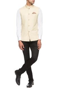 Beige & peach reversible bandhi jacket