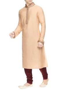 Beige kurta set with detailed collar