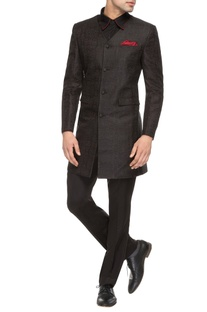 Black V-neck sherwani