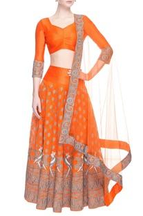 Orange embroidered lehenga set