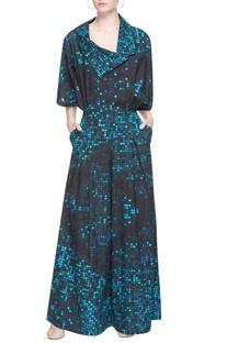 Black & blue pixel printed jumpsuit