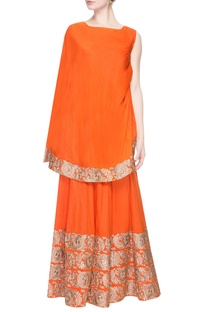 Orange gharara pant set with embroidery