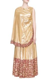 Gold lehenga set with embroidery