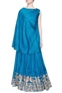 Blue lehenga set with embroidery